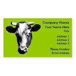 Gráfico retro negro y blanco de la vaca tarjetas de visita