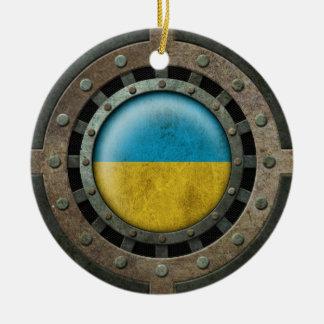 Gráfico ucraniano de acero industrial del disco de ornamentos de navidad