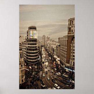 Gram Via de Madrid en España Poster