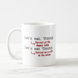 Gramática divertida de la puntuación taza de café