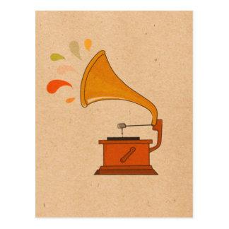 gramófono del vintage con los spashes de la música postal