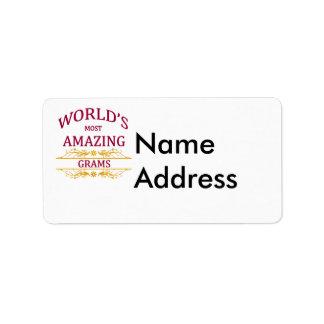 Gramos asombrosos etiqueta de dirección