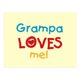 Grampa me ama las camisetas y los regalos postal
