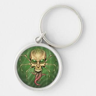 Gran arte extranjero de Lovecraftian del cráneo de Llavero Redondo Plateado