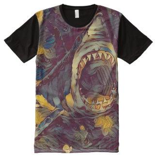 Gran arte gráfico de la fantasía del tiburón camiseta con estampado integral