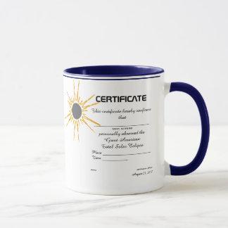 Gran certificado americano del observador del taza