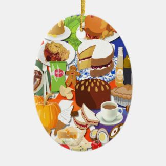Gran comida británica adorno ovalado de cerámica