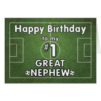 Gran cumpleaños del fútbol del sobrino con el tarjeta de felicitación