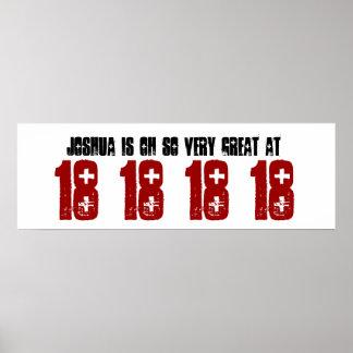 Gran décimo octavo nombre del personalizado de la  póster