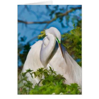 Gran Egret en el momento de la maternidad Tarjeta De Felicitación