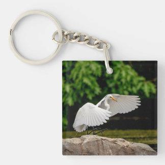 Gran Egret Llavero Cuadrado Acrílico A Doble Cara