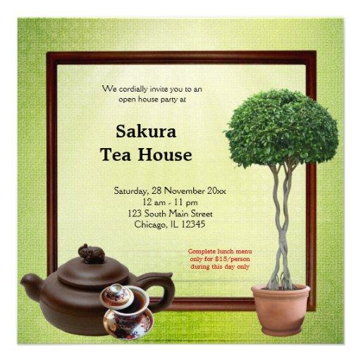 Gran inauguración de la casa de té invitaciones personalizada