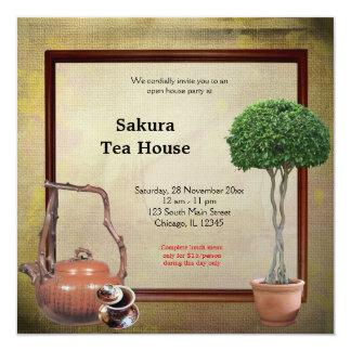 Gran inauguración de la casa de té invitación 13,3 cm x 13,3cm