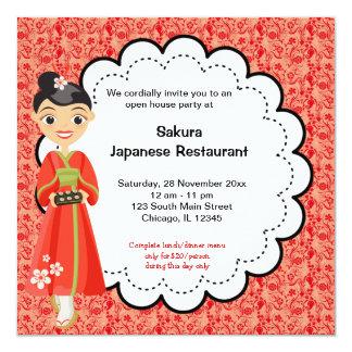 Gran inauguración japonesa invitación 13,3 cm x 13,3cm