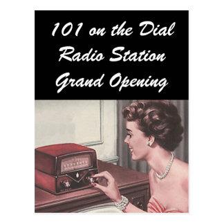Gran inauguración retra de la estación de radio de tarjeta postal