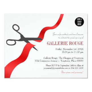 Gran inauguración roja simple del corte de la invitación 10,8 x 13,9 cm
