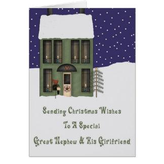 Gran navidad de la casa de Primsy del sobrino y de Tarjeta De Felicitación