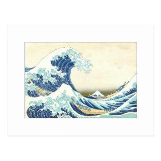 Gran onda de Katsushika de las postales de