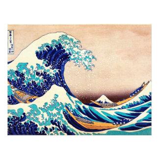 Gran onda de la bella arte japonesa del vintage de folleto 21,6 x 28 cm