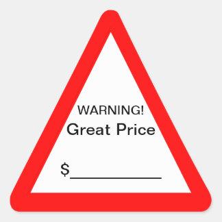 Gran pegatina amonestador del precio
