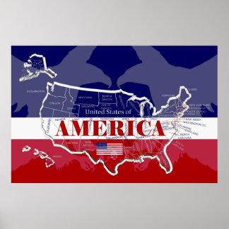 Gran poster de los Estados Unidos de América; Póster