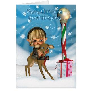 Gran reno del duende de la abuela del navidad, tarjeta de felicitación