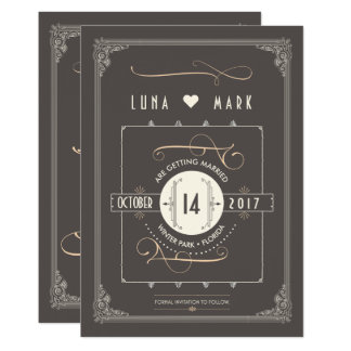 Gran reserva del art déco de Gatsby las fechas Invitación 12,7 X 17,8 Cm