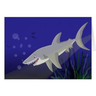 Gran tarjeta de felicitación del tiburón blanco