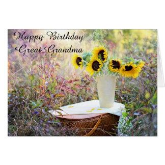 Gran tarjeta del girasol de la abuela del feliz