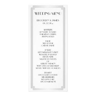 Gran tarjeta del menú de la bodas de plata del art tarjeta publicitaria a todo color