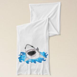 Gran tiburón blanco con los mandíbulas abiertos de bufanda