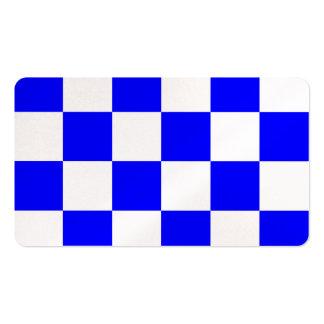 Grande a cuadros - blanco y azul tarjetas de visita
