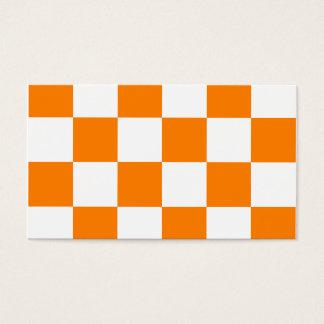 Grande a cuadros - blanco y naranja tarjeta de negocios