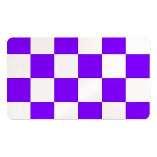 Grande a cuadros - blanco y violeta tarjetas de visita