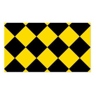 Grande a cuadros de Diag - amarillo negro y de oro Tarjetas De Visita