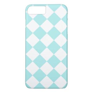 Grande a cuadros de Diag - blanco y azul claro Funda iPhone 7 Plus