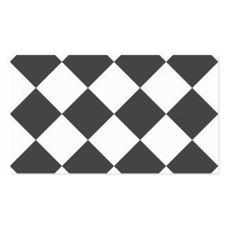 Grande a cuadros de Diag - blanco y gris Tarjetas De Visita