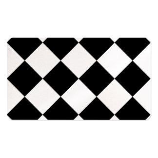 Grande a cuadros de Diag - blanco y negro Tarjetas De Visita