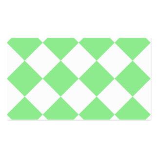 Grande a cuadros de Diag - blanco y verde claro Tarjetas De Visita