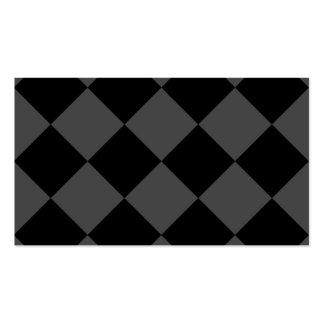 Grande a cuadros de Diag - negro y gris Tarjetas De Visita
