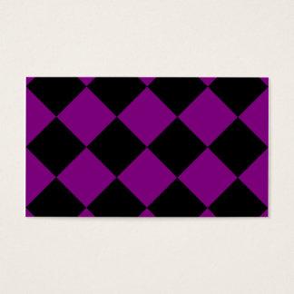 Grande a cuadros de Diag - negro y púrpura Tarjeta De Negocios