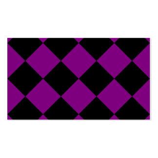 Grande a cuadros de Diag - negro y púrpura Tarjetas De Visita