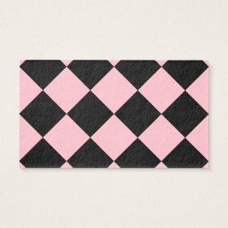 Grande a cuadros de Diag - negro y rosa Tarjeta De Negocios