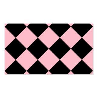 Grande a cuadros de Diag - negro y rosa Tarjetas De Visita