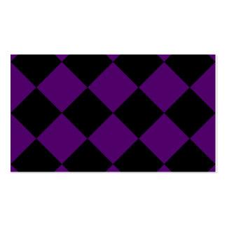 Grande a cuadros de Diag - violeta negra y oscura Tarjetas De Visita