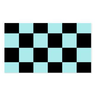 Grande a cuadros - negro y azul claro plantilla de tarjeta de negocio