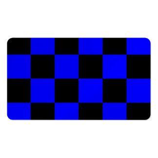 Grande a cuadros - negro y azul tarjetas de visita