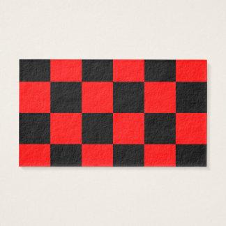 Grande a cuadros - negro y rojo tarjeta de negocios