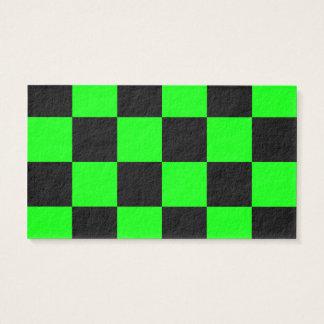 Grande a cuadros - verde negro y eléctrico tarjeta de negocios