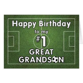 Grande - cumpleaños del fútbol del nieto con el tarjeta de felicitación